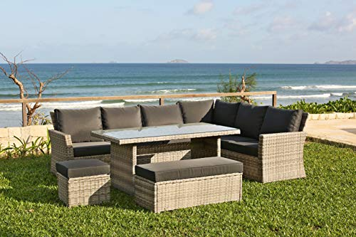 Backyard Furniture Palma 9 Seat Corner Rattan Wicker Garden Lounge Set with...