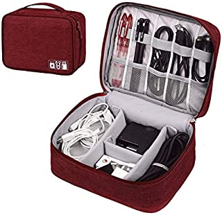 ZEON Travel Digital Packing Organiser – Waterproof Gadget Bag and Cable Storage Padded Case (Red)
