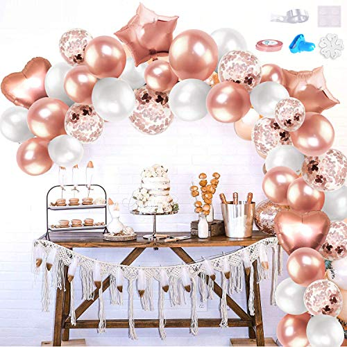 iZoeL Rose Gold Balloon Arch Garland Kit for Girl Woman Birthday Party Decoration with Tape Strips Tie Tools Flower Clips Latex Confetti Foil Star Balloon - Anniversary Celebration Supplies