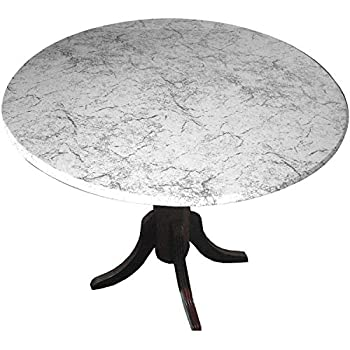 Table Cloth Round 36  to 48  Elastic Edge Fitted Vinyl Table Cover Classic White Marble
