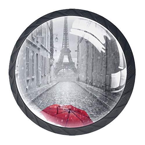 Tirador de manijas de cajón Perillas decorativas del gabinete del cajón Manija del cajón del tocador 4 piezas,Paraguas Torre Eiffel