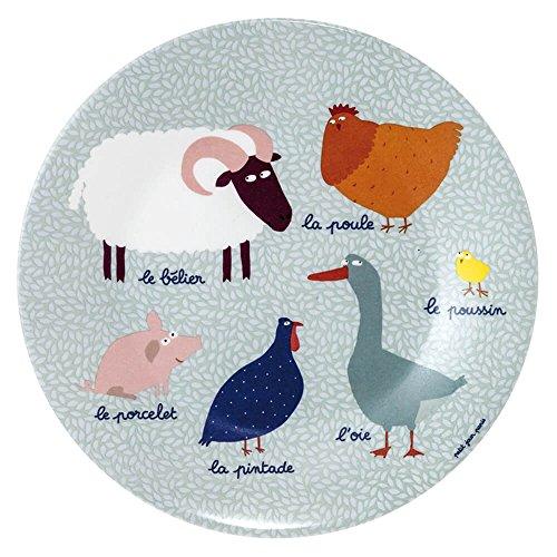 Petit Jour Paris Bauernhoftiere Teller aus Melamin 20 cm - Kinderteller Melaminteller Plastik Babyteller Kindergeschirr bunt BPA frei
