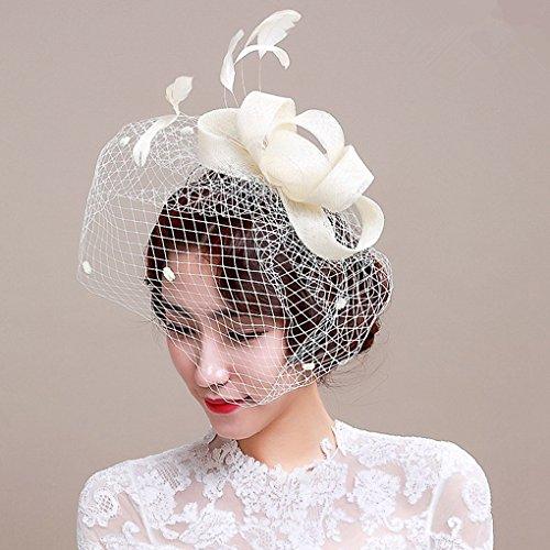Peluquería Bibi velo pluma Voilette fascinants sombreros de boda con plumas y–pinza para el pelo, diadema, cóctel Voilé sombrero Bibi flor vela fiesta cóctel boda tarde ceremonia