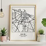 Drucken Stadtplan Bari nordischen Stil schwarz und weiß.
