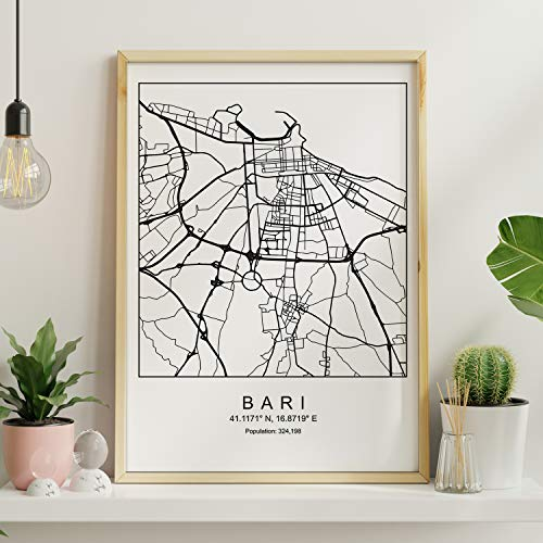 Nacnic Lámina Mapa de la Ciudad Bari Estilo nordico en Blanco y Negro. Poster tamaño A3 Sin Marco Impreso Papel 250 gr. Cuadros, láminas y Posters para Salon y Dormitorio