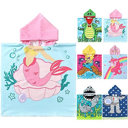 NovForth Kids Beach Towel for Boys Girls, Mermaid Hooded Bath Towel Wrap, Toddler Pool Towel with Hood
