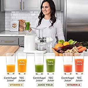 TEC Masticating Juicer - Slow, Cold Press, Juice Extractor; Easy to Set Up and Clean Plus a Powerful, Quiet 150 W Motor… |