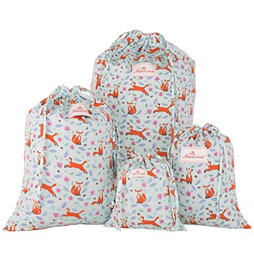 NEOVIVA 巾着袋 小 化粧品ポーチ 可愛い 4点セット 小物入れ コットン 旅行 プレゼント ドット 狐