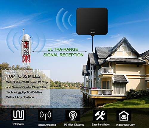 TV Antenna Indoor Digital TV Antennas HDTV Christmas present 4K 1080P HD Free Digital TV Antenna Long 60-80 Miles Range Signal Booster Support All TV's Channels HD Amplifier 18ft Coax Cable