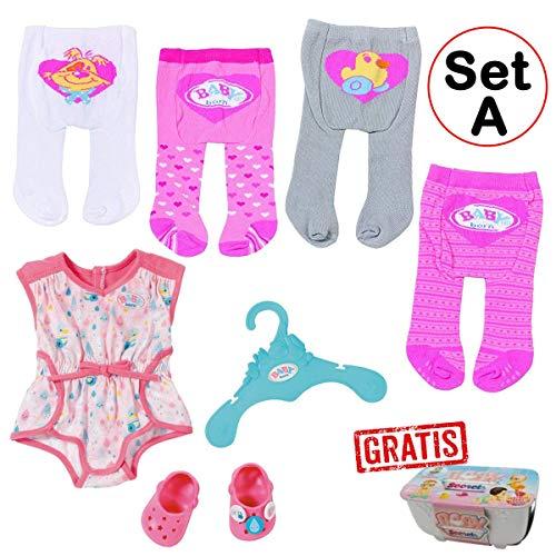 Spar-Set 173720 Set A - Zapf - Baby Born - Kleidungsset mit 4 Strumpfhosen + Pyjama mit Clogs
