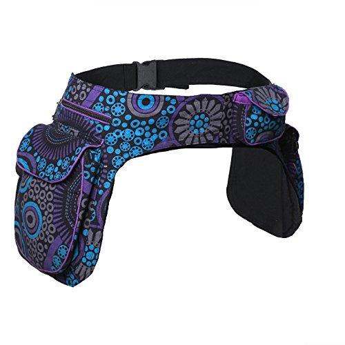 KUNST UND MAGIE Doppel Bauchtasche Sidebag Gürteltasche Festivaltasche Hippie Goa, Farbe:Lila/Blau