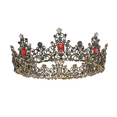 S SNUOY Baroque Vintage Queen Crowns for Women Full Round Metal Crown Costume Jeweled-Black