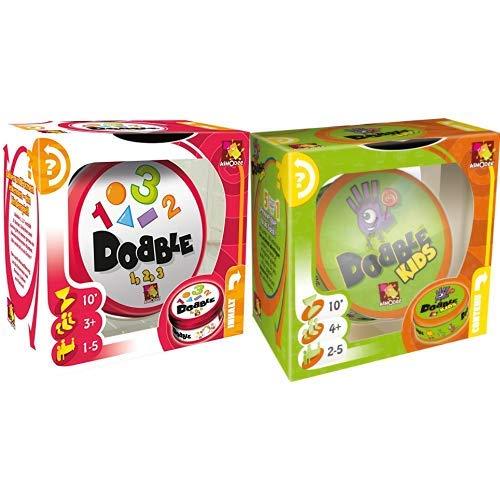 Asmodee 002964 Dobble - 1,2,3 Spiel & 001769 - Dobble Kids, Reaktionsspiel