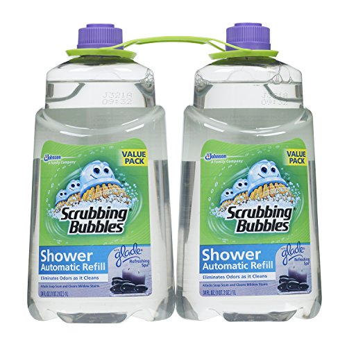 Scrubbing Bubbles Automatic Shower and Bathroom Cleaner Refill, Glade Refreshing Spa, 34 fl oz- Pack of 2