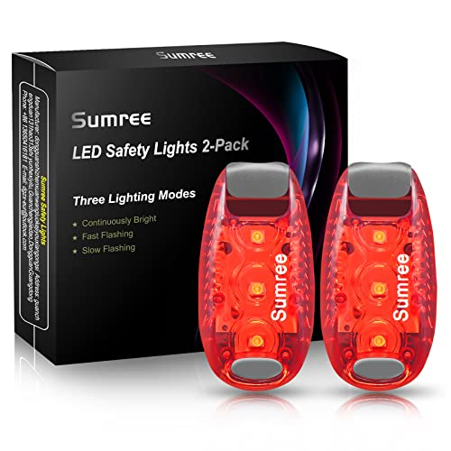 Sumree LED Blinklicht Schulranzen Sicherheitslicht 2er Set, Clip Sicherheit Licht Lauflicht Haustier Licht für Kinder Rucksack, Hunde Leuchtanhänger, Katzen, Jogger, Spaziergänger
