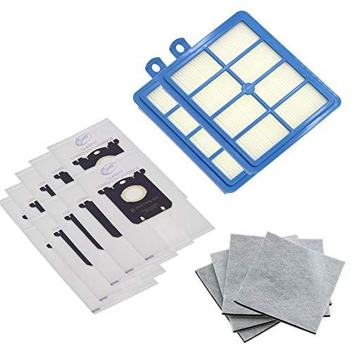 Piezas de repuesto de la aspiradora 10pcs Bolsas de polvo para S-BAG y 2pcs Filtro HEPA + 4PCS Filtro de algodón del motor Fit para Philips Fit para Electrolux FC9064 FC9104 FC9050 FC9056 Accesorios d