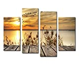 Noah Art-Rustic Seascape Wall Art Canvas Prints, Dawn on the Lake Shore Landscapes Pictures Sunset...