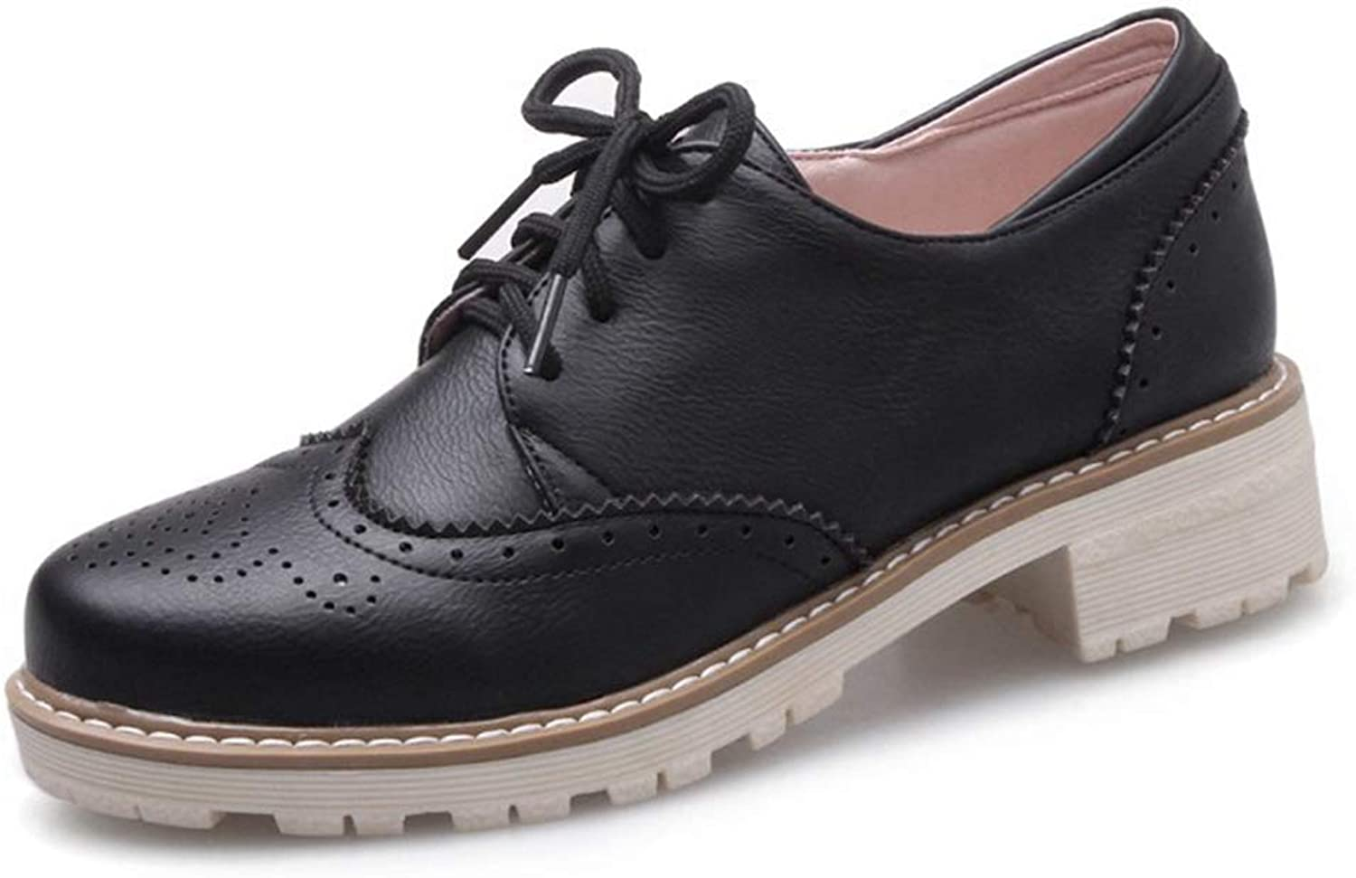 CYBLING Women's Perforated Lace-up Wingtip Flat Oxfords Brogues Vintage Leather Oxford shoes