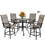 5 PCS Outdoor Patio Bar Stools Swivel Bistro Set Textilene Height Bar Stools,Outdoor High Bar Height Bistro Table Set of 5,4 Chairs & 1 Table