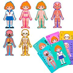 WOODEN KIDS ANATOMY PUZZLE: Human body with a 6-layer wooden puzzle, let kids explores the skeletal, respiratory, digestive, and muscular system. QUALITY AND CHILD-FRIENDLY PUZZLE PLAYSET:Safe MDF wood material, smooth edges, safe paint, children can...