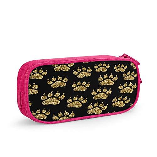 Nicokee Estuche dorado con purpurina para lápices con diseño de huellas de perro, con cremallera, para oficina, viajes, maquillaje, color rosa