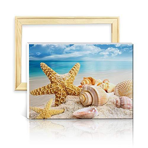 ufengke Strand Seestern Muschel 5D Diamant Malerei Set Mosaik DIY Diamond Painting nach Zahlen Kreuzstich Stickbilder, mit Holzkeilrahmen, Design 25x35cm