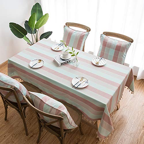 HTUO Tablecloth Christmas Decoration Pink Blue Stripes Table Cloth Cotton Linen Table Cover Waterproof Living Room Household Dining Table Rectangular Coffee Table 60 * 60cm