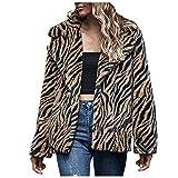 YANFANG Ropa de Abrigo Chaqueta Patrón de Mujer Abrigo Grueso Abrigo de Manga Larga Talla Grande con Estampado de Leopardo cálida de Invierno Chaqueta de Punto