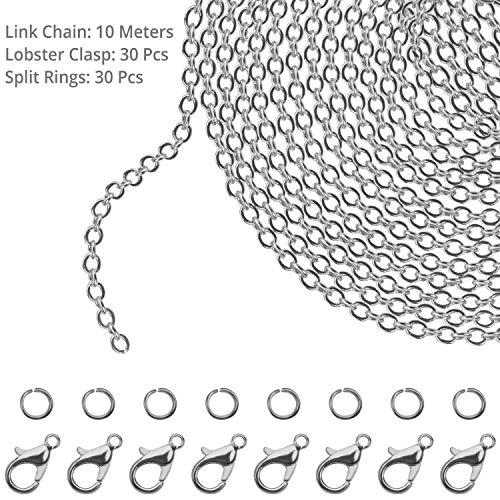 Kurtzy Kettenglieder für die Schmuckherstellung - 10m Versilberte Eisen Kabel Kette (1.5mm Dicke) mit 30 Karabinerverschlüssen und 30 Spaltringen (Jeder) für DIY Halsketten, Armbänder und Kunsthandwerk