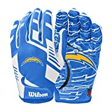 Wilson NFL Stretch Fit Football Gloves - Los Angeles Chargers-Youth (WTF9327LAC)