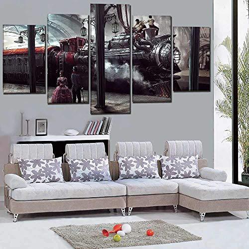 IIIUHU Bilder Abstrakt 5 Teilig Wandbild XXL Sci Fi Steampunk Bahnhof Leinwand Bild Wandbilder Wohnzimmer Wohnung Kunstdrucke Modern Wandbilder Design Abstrakt Poster Wanddekoration