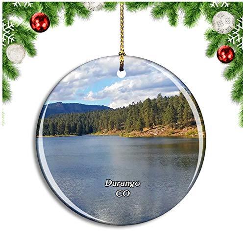 Weekino Durango San Juan Park Colorado USA Christmas Ornament Xmas Tree Decoration Hanging Pendant Travel Souvenir Collection Double Sided Porcelain 2.85 Inch