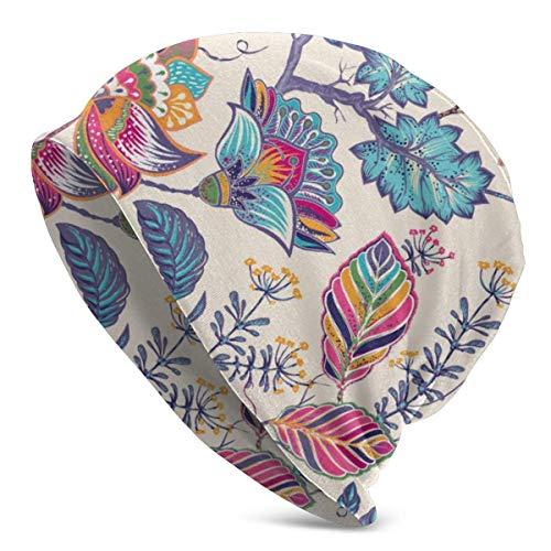 SWT-T Gorro de punto sin costuras con patrón de flores, gorro de invierno, gorras de calavera, para hombres y mujeres