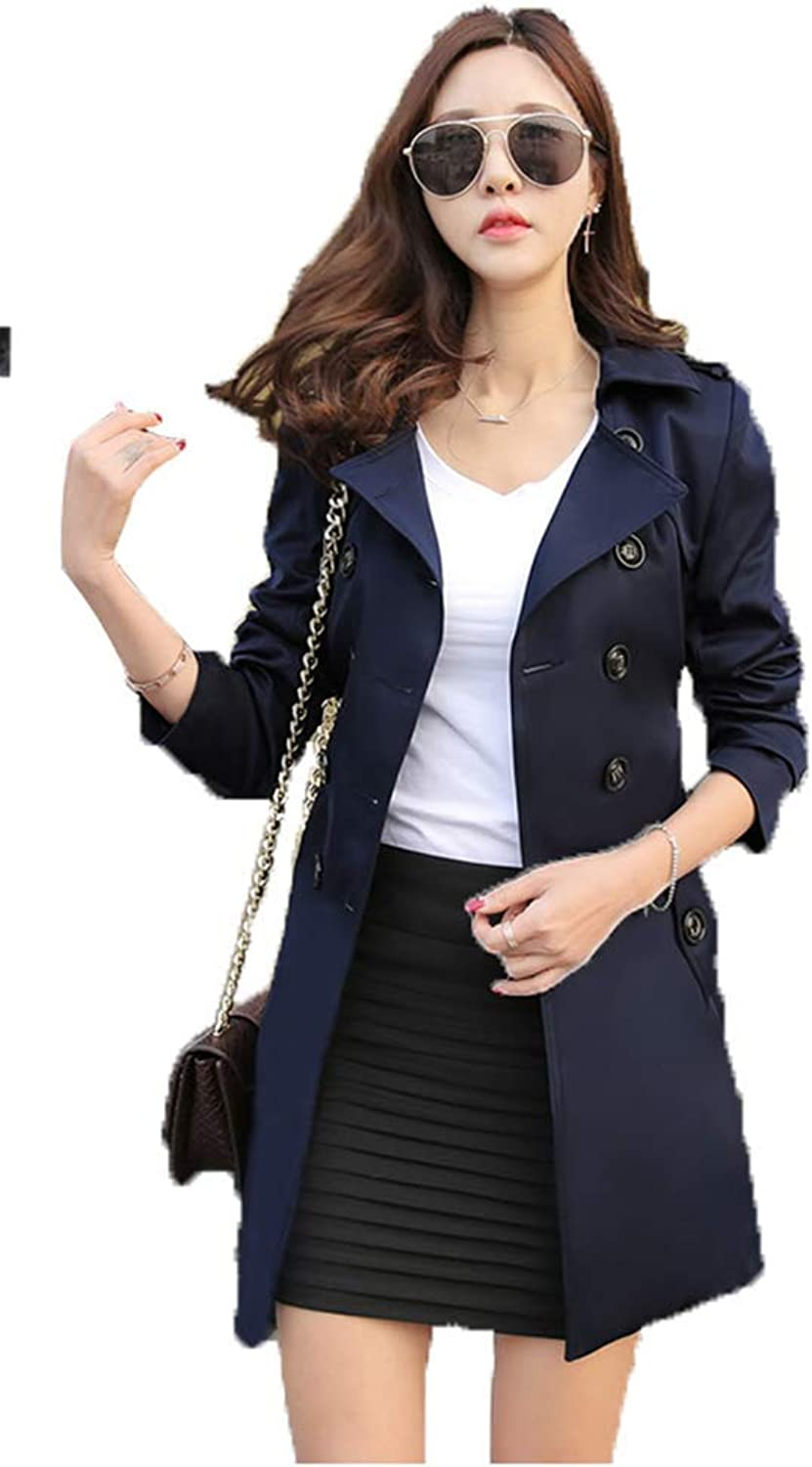 Obosoyo Women's Double Breasted Trench Coat Chelsea Tailoring Overcoat with Belt