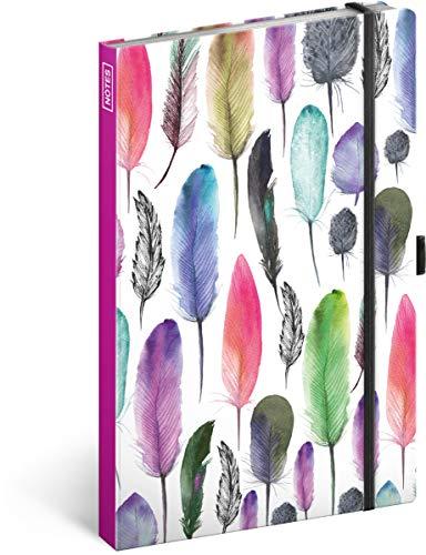 Notizbuch mit Gummiband liniert - Notizblock für Frauen und Mädchen - Tagebuch Journal Notebook für Schule und Arbeit (Federn)