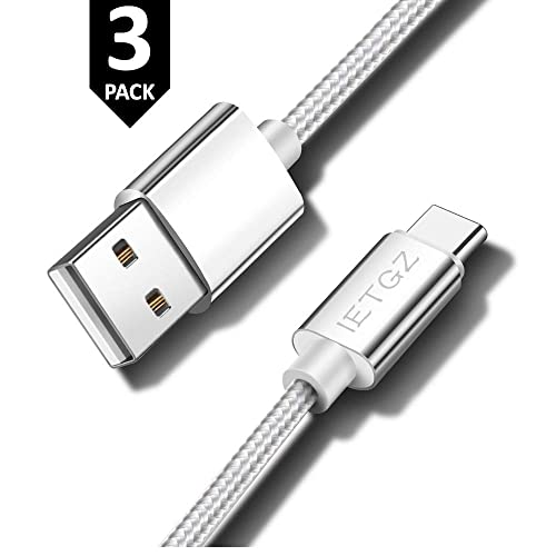 IETGZ 3 Pack 3Amp Nylon Braided USB A to USB C Fast Charging Charger High Speed Charge Cable (3ft Gray Silver Cord)