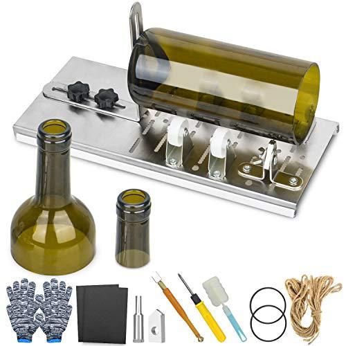 Oasis-X Cortador de cristal para botellas de acero inoxidable, accesorios de herramientas, guantes, anillo de goma, cuerda de cáñamo, papel de lija para bricolaje