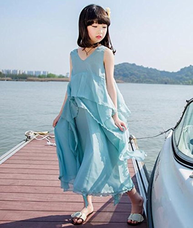 LuckyYumi 子供ドレス 女の子 ピアノ 発表会 パーディー 演奏会 フォーマル 入園式 結婚式 ワンピース (120cm, ブルー)