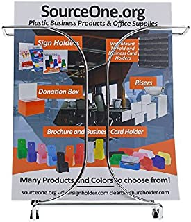 Source One Premium Metal Trifold 4 Inch Wide & Full Size 8 1/2 Inch Brochure Holder (1 Pack, 8.5 Inch)