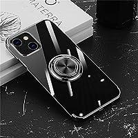 iPhone 13 ケース リング付き 透明 iPhone 13 Pro ケース クリア TPU 耐衝撃 リングケース アイホン 13 カバー メッキ おしゃれ アイホン 13 Pro ケース スタンド機能 防塵 薄型 軽量 変形防止 全面保護カバー iPhone 13/iPhone 13 Pro 6.1インチ アイフォンケース (黒)