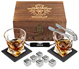Whiskey Glass Set - Whisky Chilling Stainless Steel Ice Cubes of 6 -...
