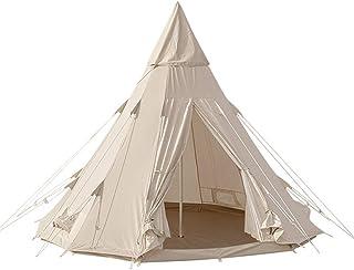 TOMOUNT ワンポールテント コットンテント ポリコットン キャンプテントTC素材 四季適用 3-5人 簡単設営 撥水 通気 遮光 焚火 キャンプ用 1本ポール付き