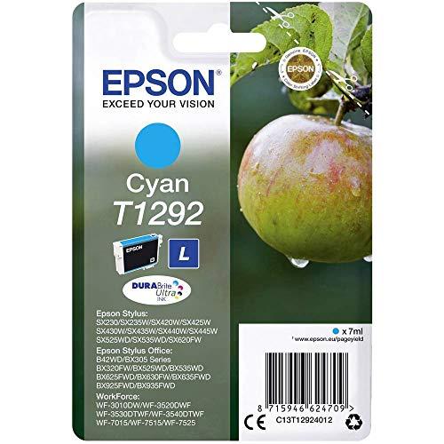 Epson Original T1292 Apfel Tinte (SX420W BX320FW SX620FW BX/SX525WD BX625FWD BX305FW B42WD BX925FWD BX635FWD BX535WD SX435/440W BX630FW SX235W WF7015 7515 7525 3010 3520 3540) cyan