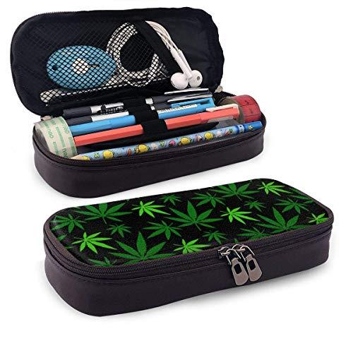 Estuche Escolar de Gran Capacidad, Bolsa de Lápiz Portable Estuche Organizador para Material Papelería con Cremallera Doble Hoja de marihuana