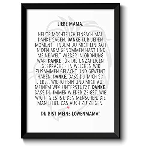 Löwenmama Bild im schwarzem Holz-Rahmen Geschenk Geschenkidee Muttertag Muttertagsgeschenk Mama Mutter