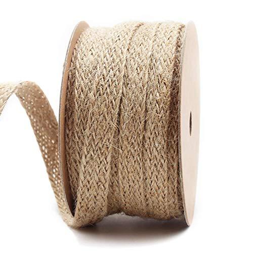 LaRibbons 0.47 inch Burlap Braided Hemp Rope String Hessian Ribbon Rope Party Craft Decor, 10 Yards