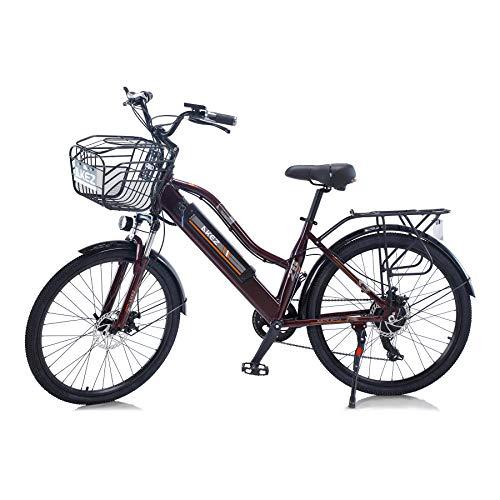 """Hyuhome 2021 Upgrade Vélos électriques pour Femmes Adultes, All Terrain 26""""36V 250 / 350W Bicycles Batterie Lithium-ION Amovible Mountain Ebike pour vélo en Plein air Voyage Work Out (Brown, 350W)"""