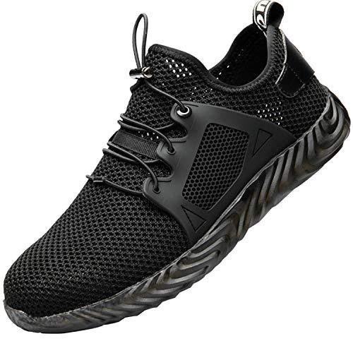COOU Arbeitsschuhe Herren S3 Leicht Comfort Sicherheitsschuhe rutschfest Sportlich Jogger Sneaker für Frauen Männer, 703/Black46