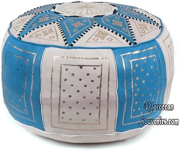 Stuffed Moroccan Pouf Fez Pouffe Ottoman Poof Color Blue