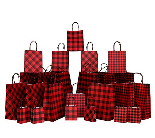 Iconikal Gift Bags, Red Buffalo Plaid, 24-Piece Set